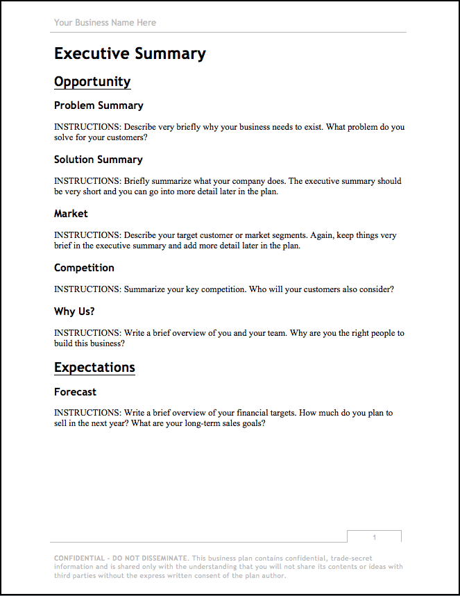 Business Plan Template – Free Download | Bplans