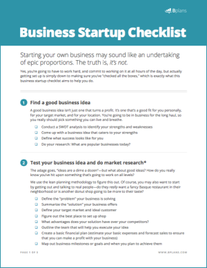 Business startup checklist free download bplans free business startup checklist wajeb Image collections