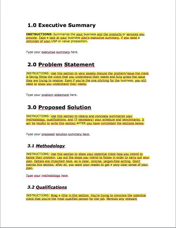 Free business proposal template download bplans for Writing a proposal for a new position template
