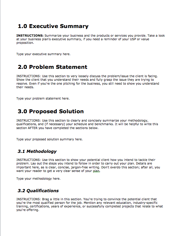 Business Proposal Template Free Download Bplans - Business plan free template download